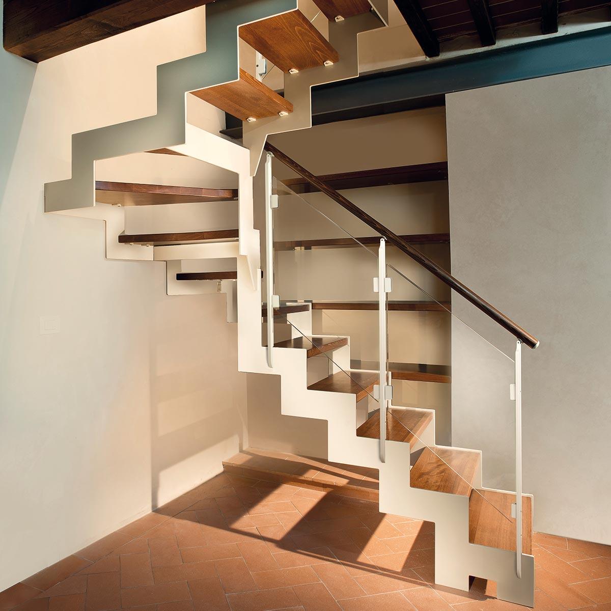 scale fai da te Marretti scalini in legno massello di rovere, ringhiera e corrimano in acciaio inox